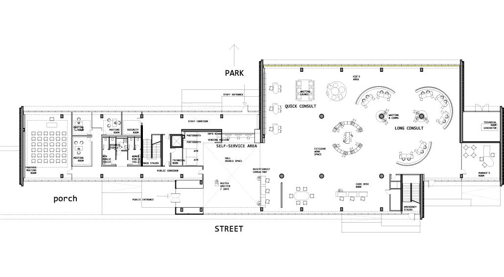 Bcq arquitectes 1premio concurso public service hall en for Oficinas planta arquitectonica