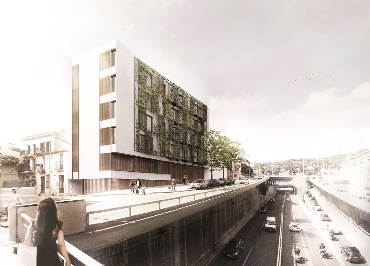 Terradas arquitectos edificio de viviendas en via for Exterior edificios